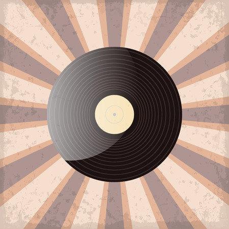 oldies: vinyl record on a sun rays background with grunge