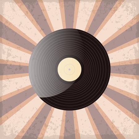 vinyl record on a sun rays background with grunge Vektoros illusztráció
