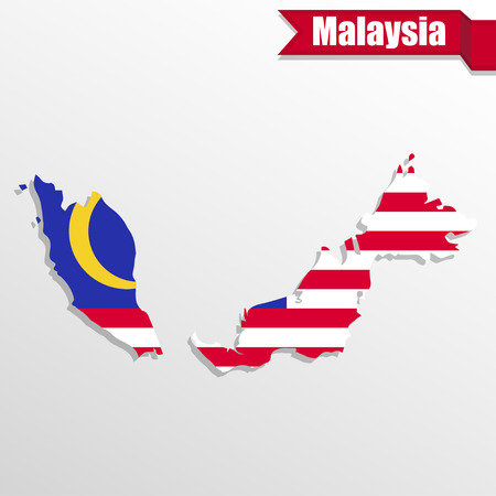 Malaysia map with flag inside and ribbon