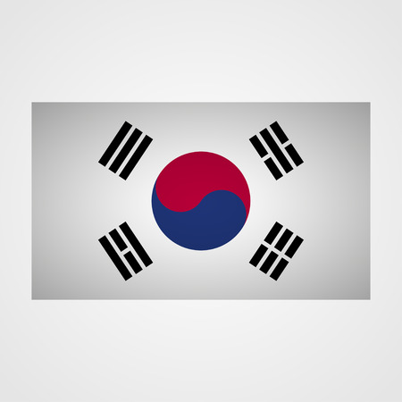 dictatorship: South Korea flag on a gray background. Vector illustration