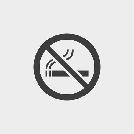 smoldering cigarette: No smoking icon in a flat design in black color. Illustration