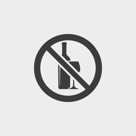 tipple: No alcohol icon in a flat design in black color.