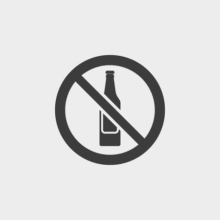 no alcohol: No alcohol icon in a flat design in black color.