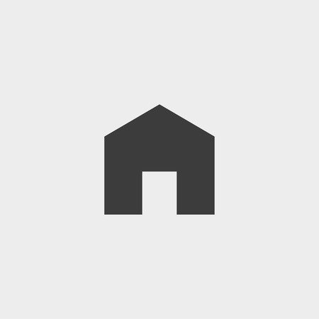 abode: house Icon in a flat design in black color Illustration