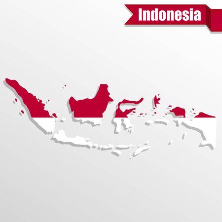 Indonésie Plan avec le drapeau intérieur et ruban