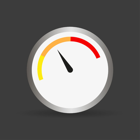 benchmark: Round gauge with arrow and shadow. Vector illustration