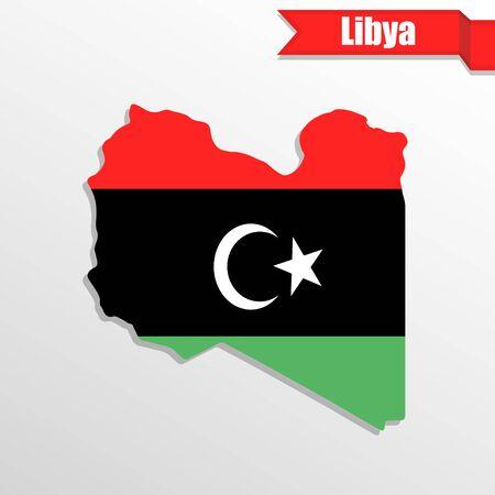 Mappa Libia con la bandierina dentro e nastro