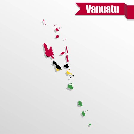 shinning leaves: Vanuatu map with flag inside and ribbon