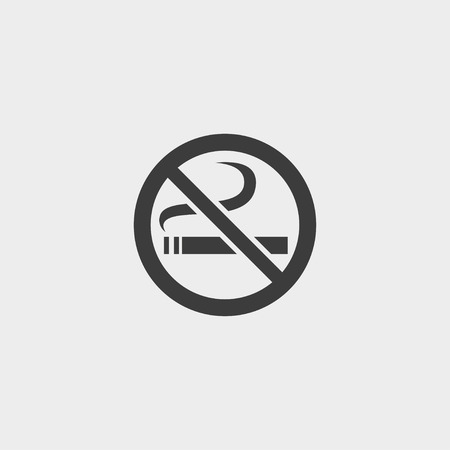 abstain: No smoking icon in a flat design in black color. Vector illustration eps10 Illustration