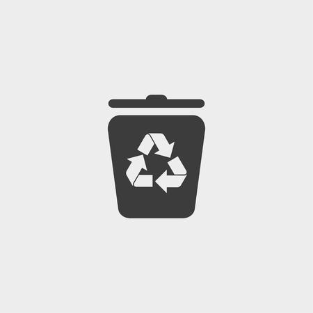 Recycling-Container-Symbol in einem flachen Design in schwarzer Farbe. Vektor-Illustration eps10