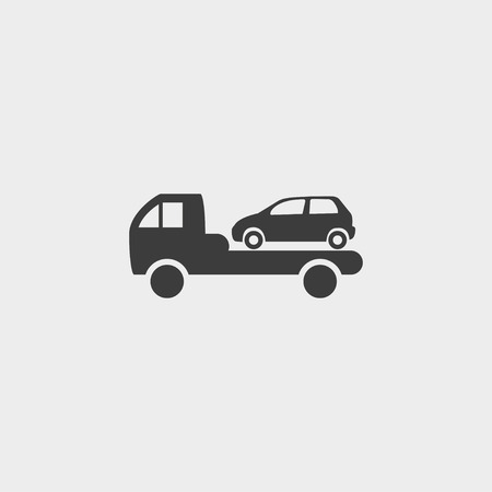 evacuate: Car evacuation icon in a flat design in black color. Vector illustration eps10