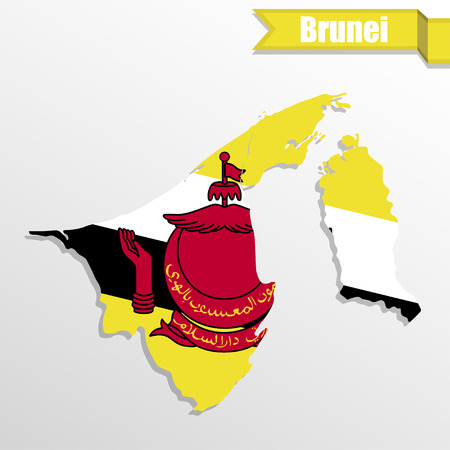 map of brunei: Brunei map with flag inside and ribbon