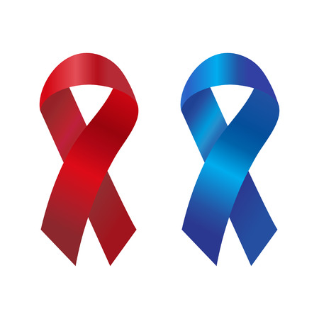 pancreatic cancer: Cancer ribbon in the blue and red gradient. Vector illustration