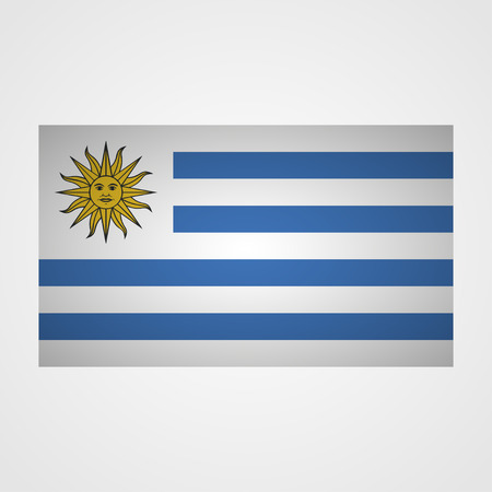 correctly: Uruguay flag on a gray background. Vector illustration Illustration