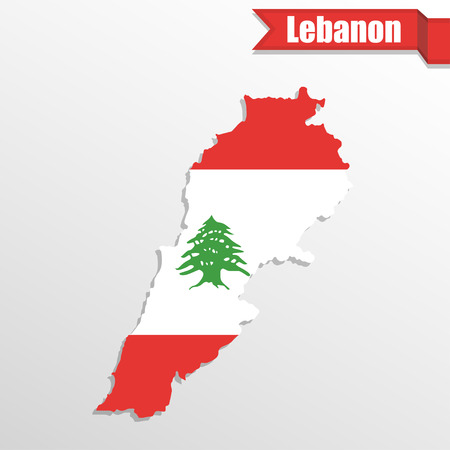 shilouette: Lebanon map with flag inside and ribbon