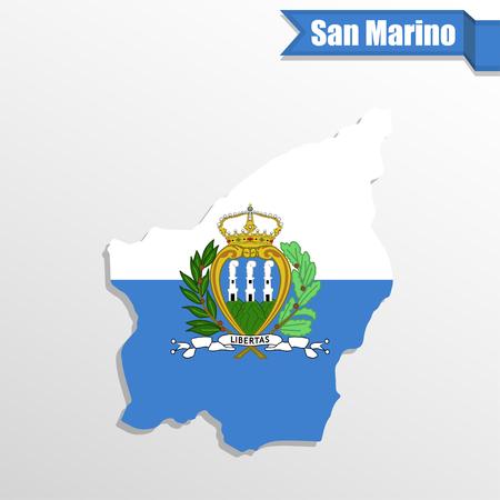 modernity: San Marino map with flag inside and ribbon Illustration