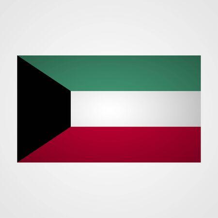 spangled: Kuwait flag on a gray background. Vector illustration
