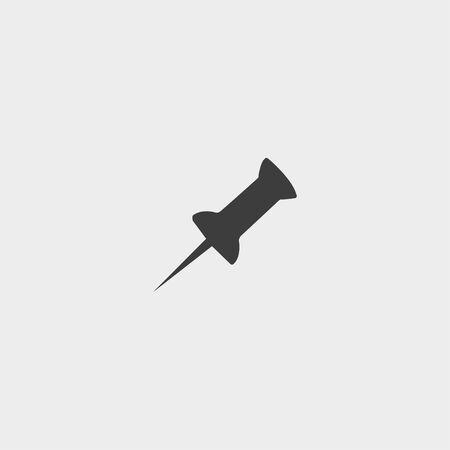 ful: Pushpin icon in a flat design in black color. Illustration