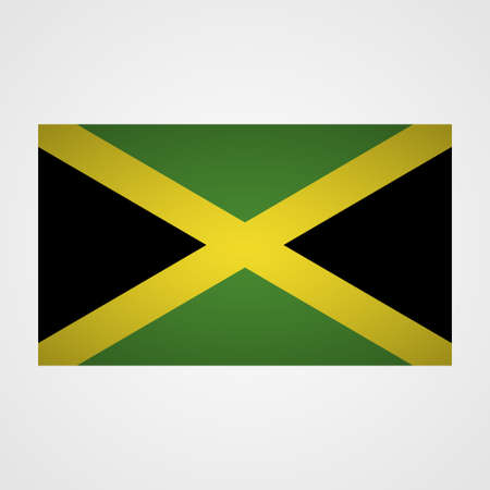 Jamaica flag on a gray background. Vector illustration