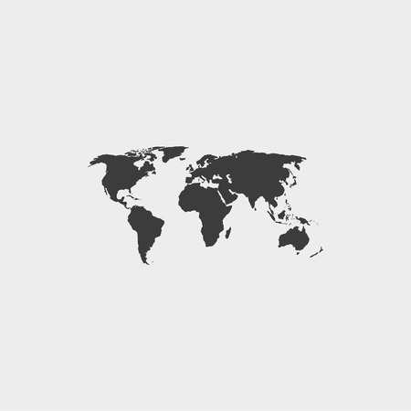 worldmap: World map icon in a flat design in black color. Illustration