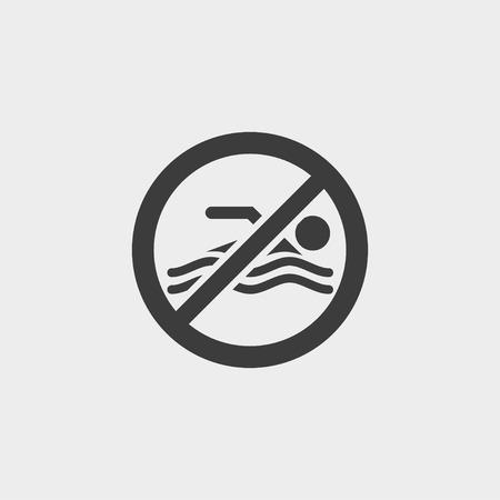 no swimming: No swimming icon in a flat design in black color.