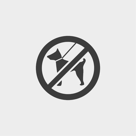 No dog icon in a flat design in black color.