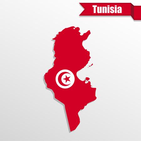 tunisia: Tunisia map with flag inside and ribbon