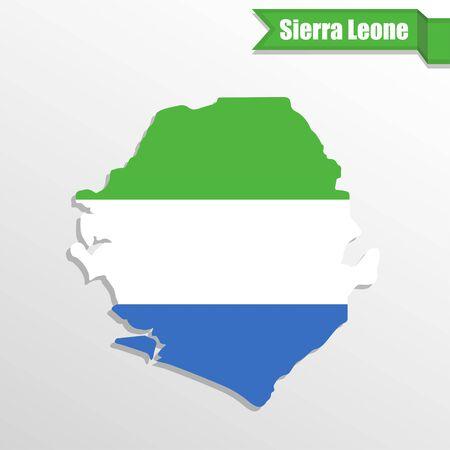 sierra leone: Sierra Leone map with flag inside and ribbon