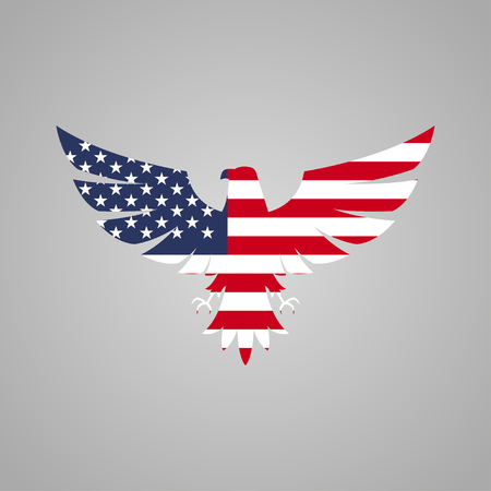 American eagle with flag on a gray background Illustration