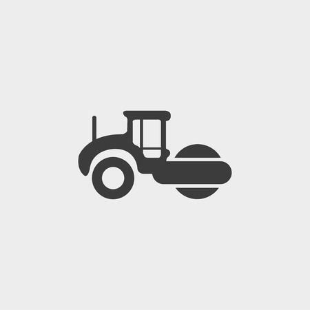 graders: Asphalt machine icon in a flat design in black color.