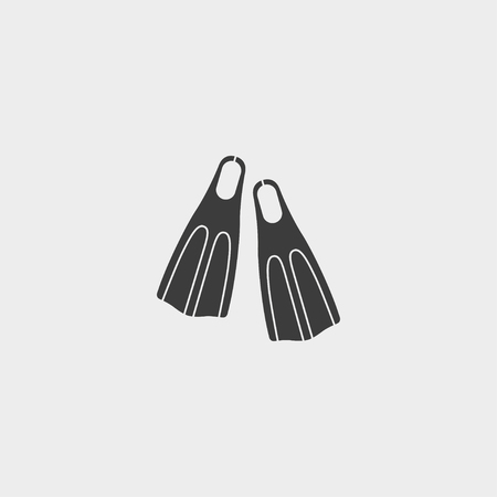flippers: Flippers icon in a flat design in black color. Vectores