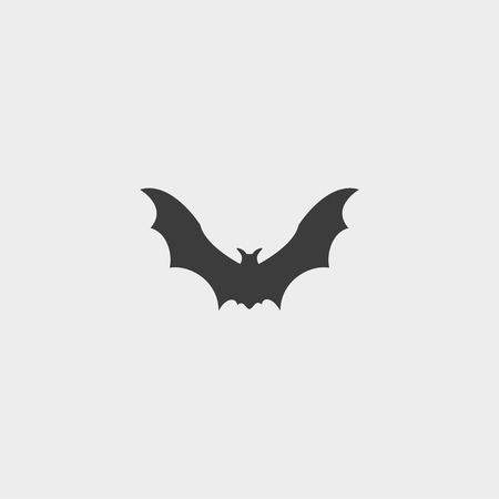 superstitious: Bat Icon in a flat design in black color. Illustration