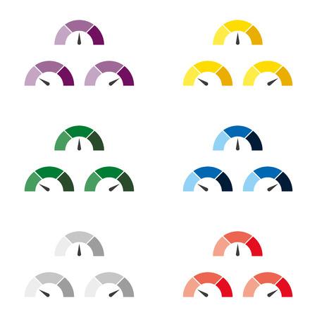 Set of multicolor speedometer or rating meter signs infographic gauge element. Vector illustration Illustration