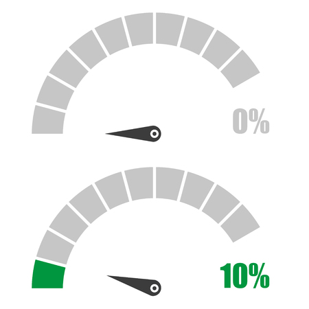 rating meter: Set of speedometer or rating meter signs infographic gauge element with percent 0, 10