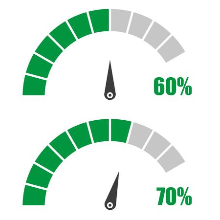 Conjunto de velocímetro o medidor calificación signos elemento medidor de infografía con un 60 por ciento, 70 Ilustración de vector