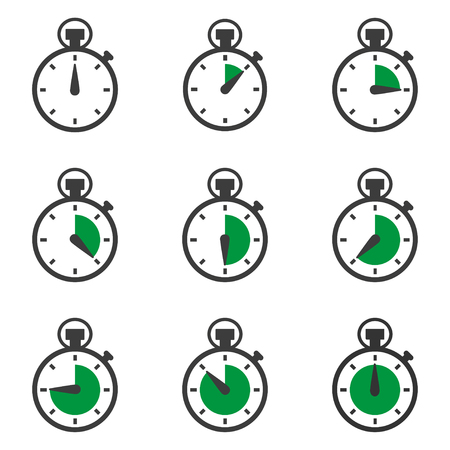 Set of stopwatches icons. Timer symbol. Vector illustration Stock Illustratie