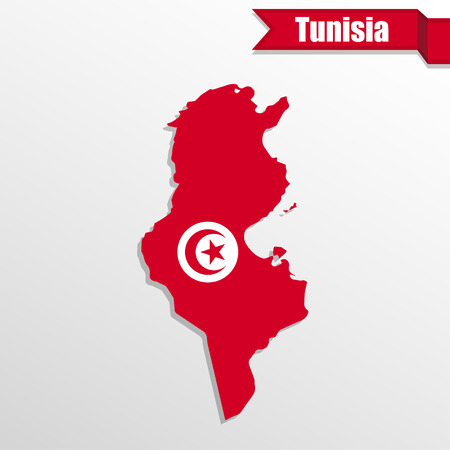 pentacle: Tunisia map with flag inside and ribbon