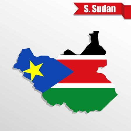 South Sudan map with flag inside and ribbon