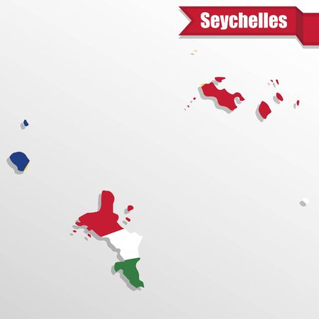 creole: Seychelles map with flag inside and ribbon