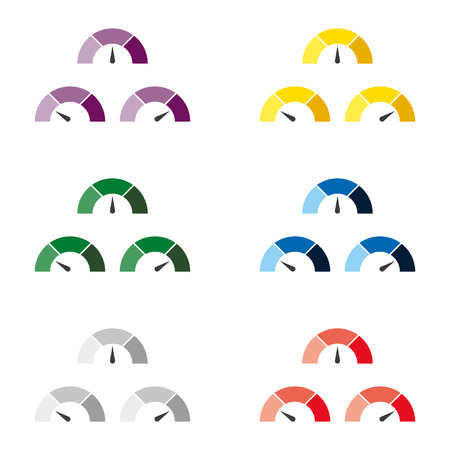 rating meter: Set of multicolor speedometer or rating meter signs infographic gauge element. Vector illustration Illustration