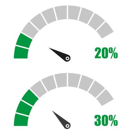 rating meter: Set of speedometer or rating meter signs infographic gauge element with percent 20, 30 Illustration