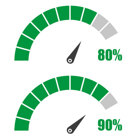 80 90: Set of speedometer or rating meter signs infographic gauge element with percent 80, 90 Illustration
