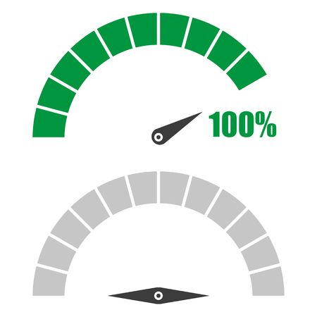 Set of speedometer or rating meter signs infographic gauge element with percent 100 Vectores