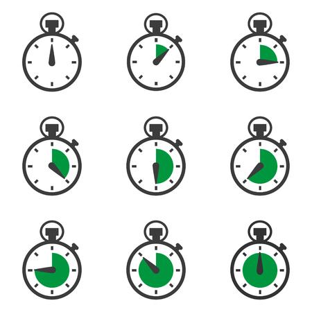 twenty second: Set of stopwatches icons. Timer symbol. Vector illustration Illustration