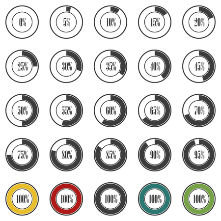 increments: Progress circles with increments in gray design. Vector illustration