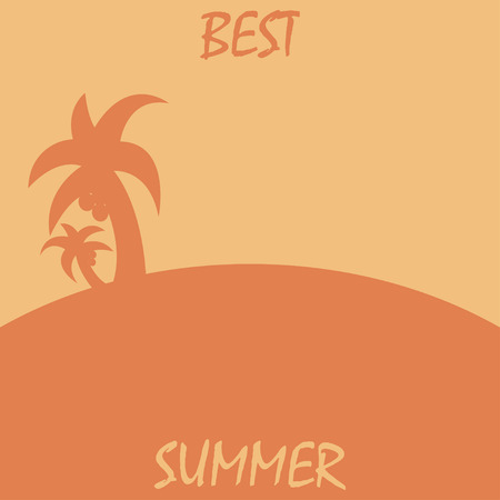 flaying: Summer poster best summer. Travel agency offer. Palm icon Illustration