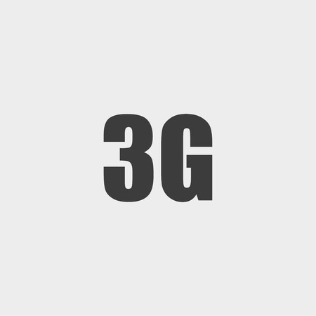 3g: 3G icon in a flat design in black color.