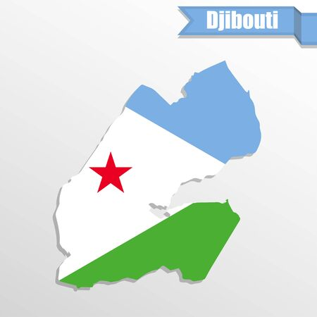 Djibouti map with flag inside and ribbon Illustration
