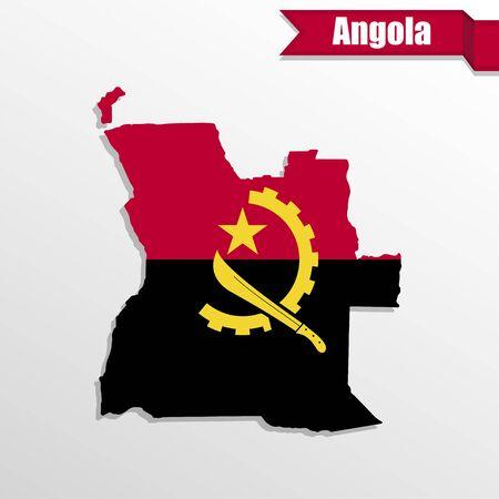angola: Angola map with flag inside and ribbon Stock Photo