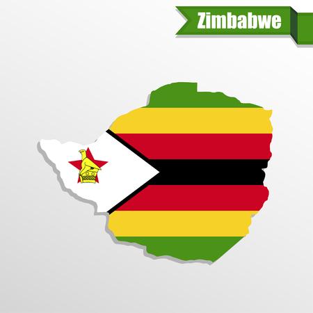 zimbabwe: Zimbabwe map with flag inside and ribbon Stock Photo